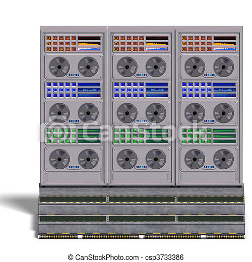 a historic science fiction computer or mainframe. 3D rendering and shadow over white - csp3733386