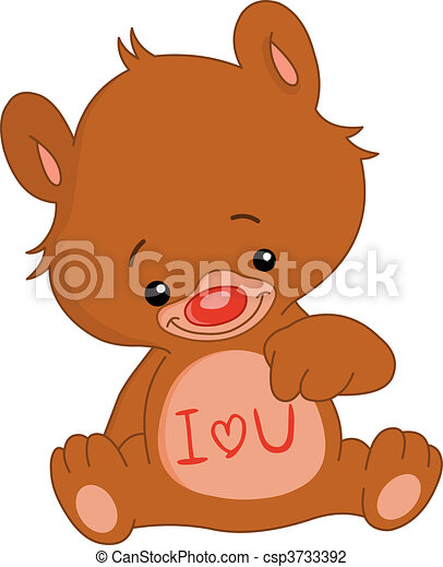 Vector Illustration of I love U bear - I love U teddy bear ...