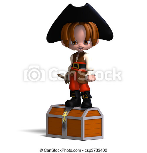 sweet and funny cartoon pirate with hat. 3D rendering and shadow over white - csp3733402