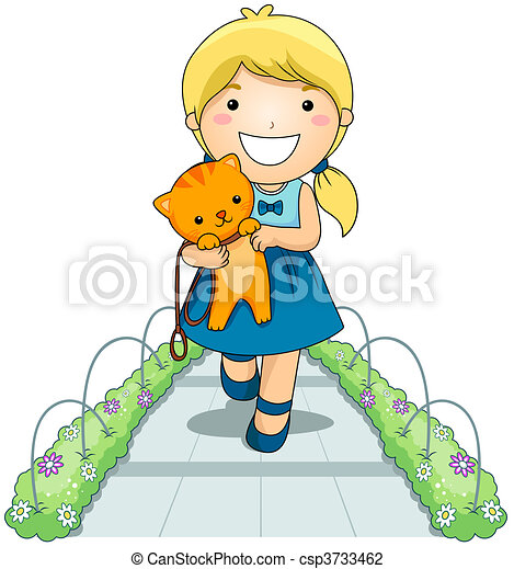 Girl and Pet Cat - csp3733462