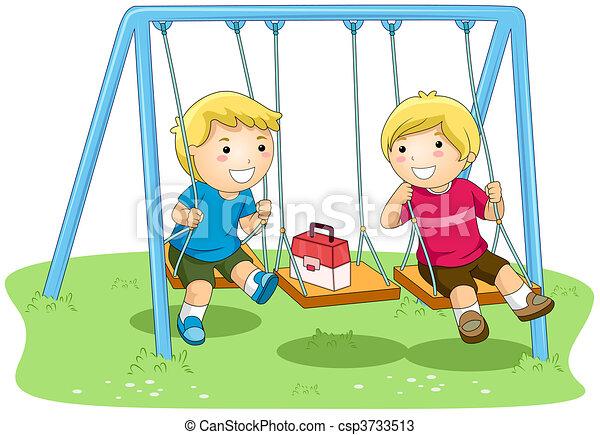 Boys on Swing - csp3733513