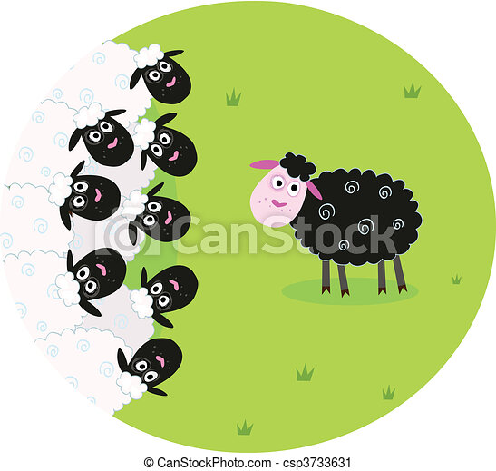 Black and white sheep - csp3733631