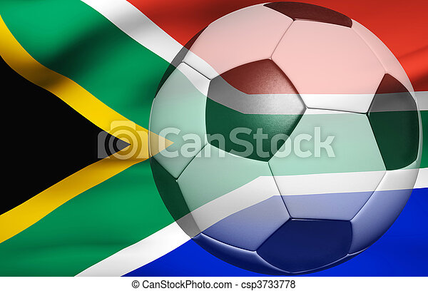 Soccer ball over the south africa flag 3d - csp3733778