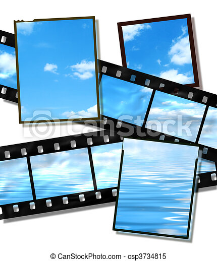 film strip and film plates with summer sky and ocean image on white background - csp3734815