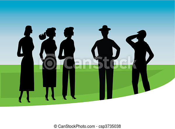 silhouette of buisness people - csp3735038