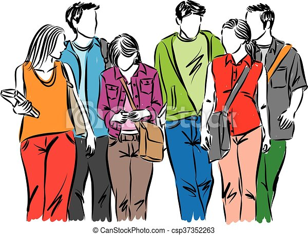 Clipart of a Teenage Couple in Colorful Korean Pop
