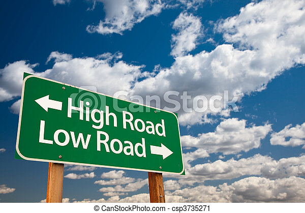 High Road, Low Road Green Road Sign - csp3735271