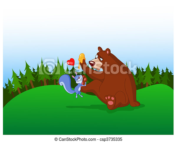 squirrel and bear - csp3735335