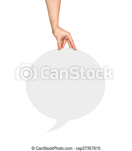 Hand holding a white round  blank speech bubble on an isolated white background - csp37357615