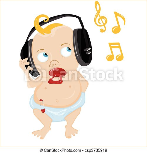 Cute Baby Listening to some music. - csp3735919