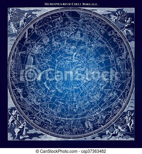 ... illustrazione, di, Boreal, emisfero, cielo, astronomia, costellazioni