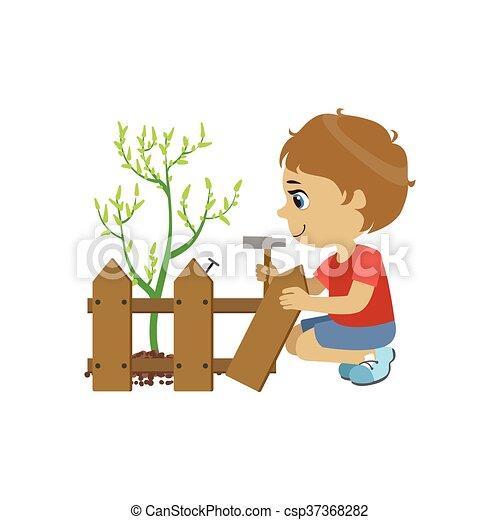 vektor von junge zaun reparieren boy fixing the. Black Bedroom Furniture Sets. Home Design Ideas