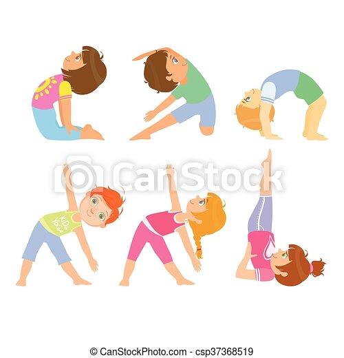 vector clip art de simple posturas yoga niños  kids