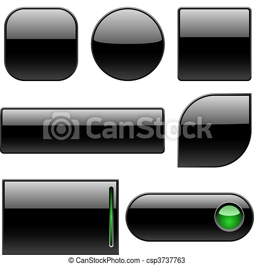 Blank black plastic buttons - csp3737763
