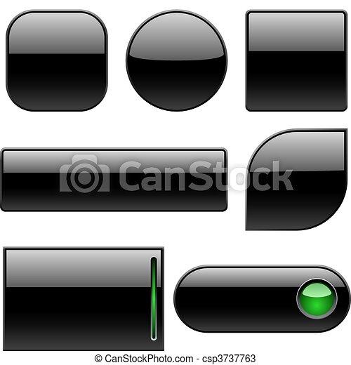 Blank black plastic buttons - csp3737763