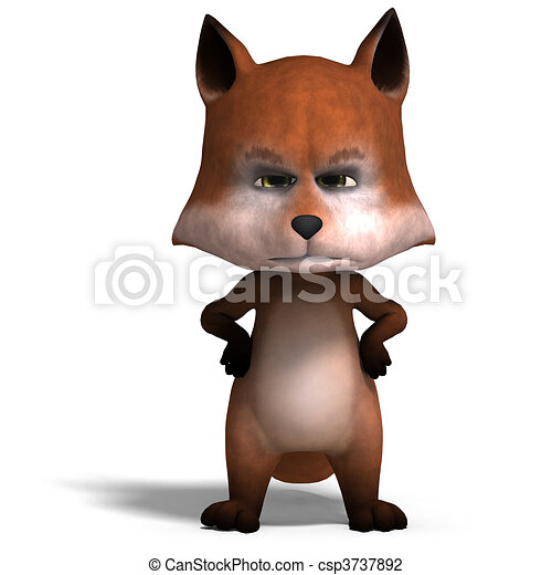 the cute cartoon fox is very smart and clever. 3D rendering and shadow over white - csp3737892