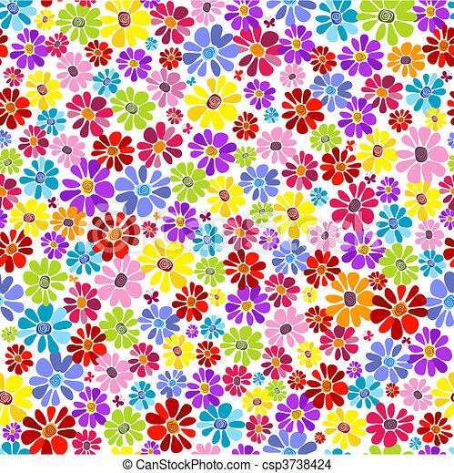 Seamless floral vivid pattern - csp3738424