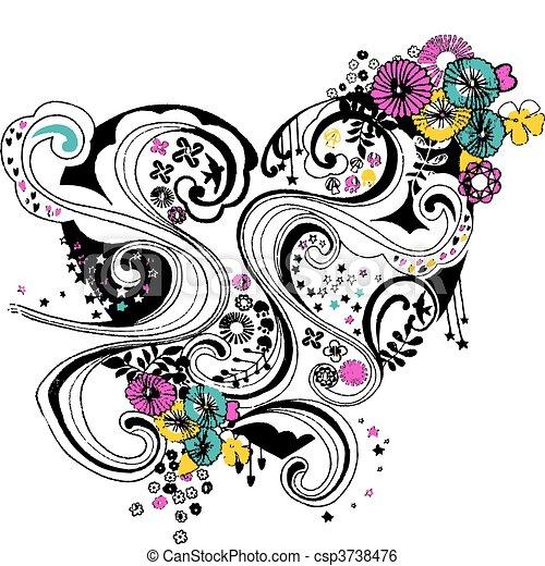 spiral flourish flower heart design - csp3738476