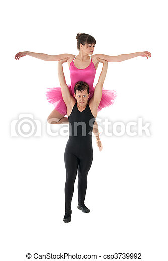 Young couple dancing ballet isolated on white background. - csp3739992