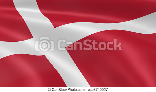 Danish flag in the wind - csp3740027
