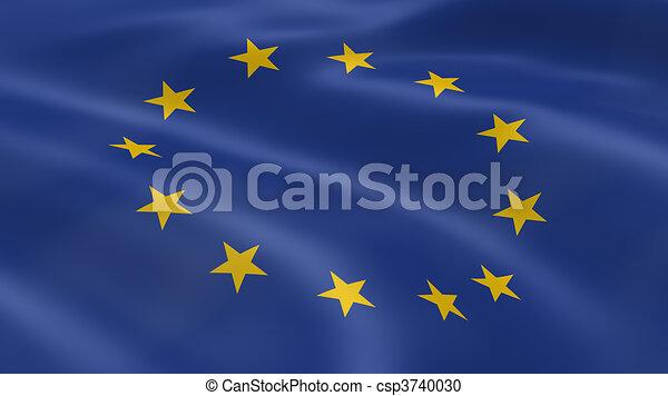 European Union flag in the wind - csp3740030