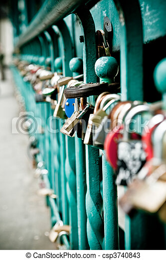 Padlock hanging on one of the bridges in Wroclaw - csp3740843