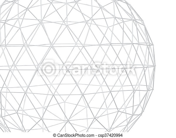 Abstract white background with 3d lattice - csp37420994