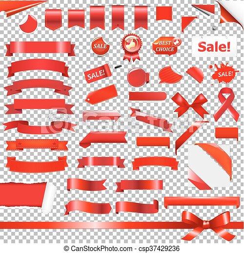 Big Red Ribbon Set - csp37429236