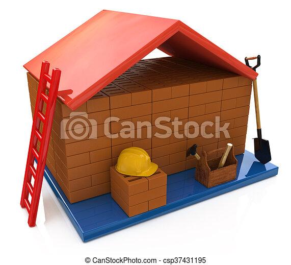 Haus bauen clipart  Stock Illustration von haus, bauen, hausfinanzierung - Mortgage ...