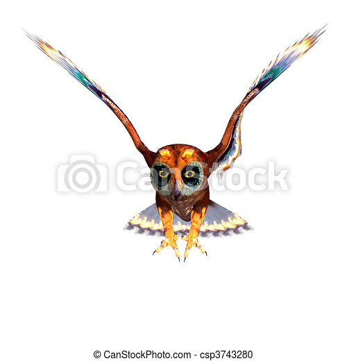 fantasy owl with rainbow colors. 3D rendering and shadow over white - csp3743280