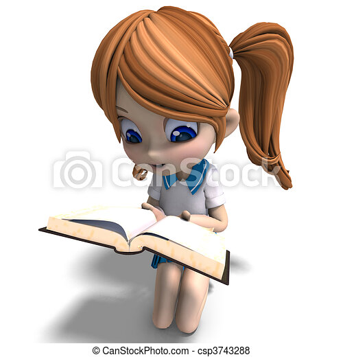 cute little cartoon school girl reads a book. 3D rendering with  and shadow over white - csp3743288