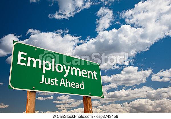Employment Green Road Sign - csp3743456