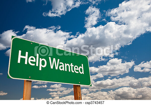 Help Wanted Green Road Sign - csp3743457