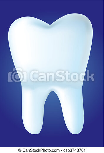 Tooth on blue background, vector illustration made with mesh - csp3743761