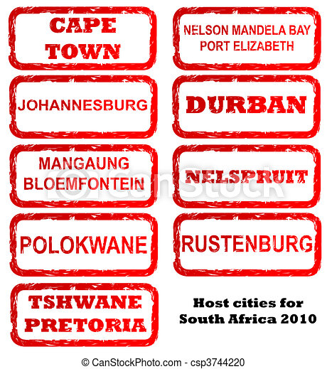 South Africa host city stamps - csp3744220