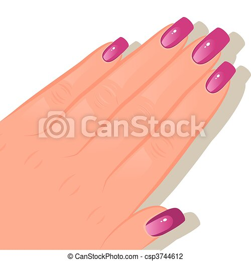 Female hand with manicured - csp3744612