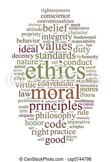 ethics and principles word cloud - csp3744798