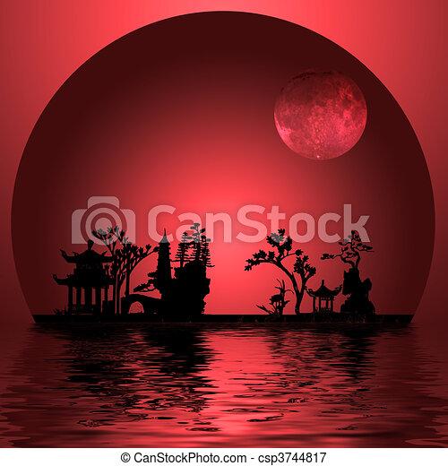 illustrations de asie paysage asia landscape moon csp3744817 recherchez des clipart. Black Bedroom Furniture Sets. Home Design Ideas