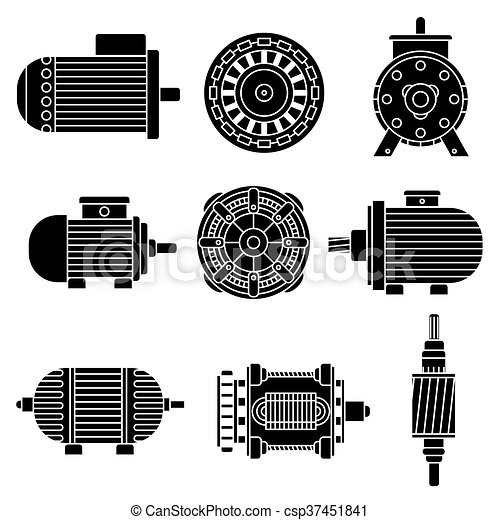 eps vector of electric motor vector icons black and white