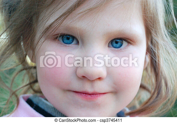 Stock Photography of Little girl with rosy cheeks and blue ...