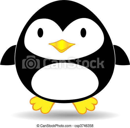 Cute looking penguin standing alone - csp3746358