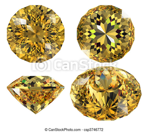 yellow gem isolated - csp3746772
