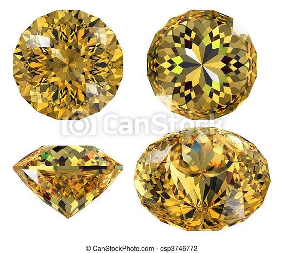 yellow gem isolated - csp3746772