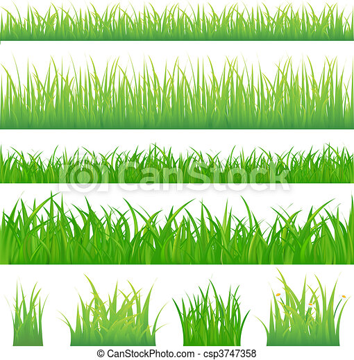 4 backgrounds of green grass and 4 tufts of grass - csp3747358