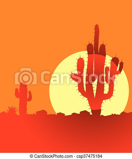 Sunset in desert with cactuses - csp37475184