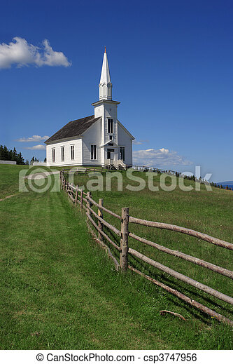Little white church on a hill - csp3747956
