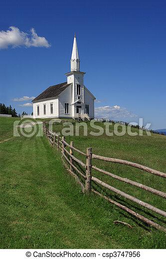 Little white church on a hill - csp3747956