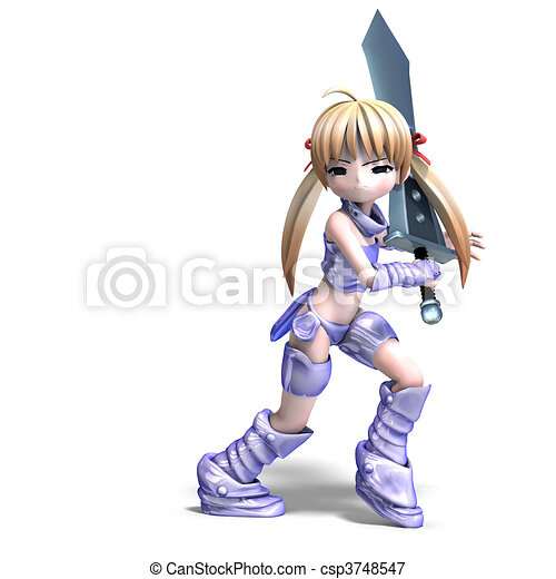 female manga paladin with huge sword. 3D rendering and shadow over white - csp3748547