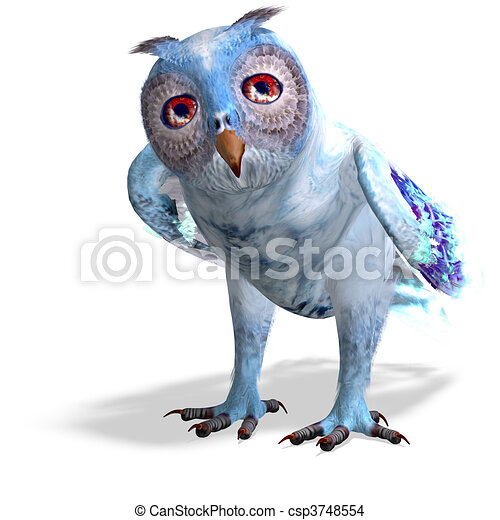 light blue fantasy owl.3D rendering and shadow over white - csp3748554