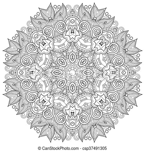 coloring book page for adults - zendala, joy to older children a - csp37491305